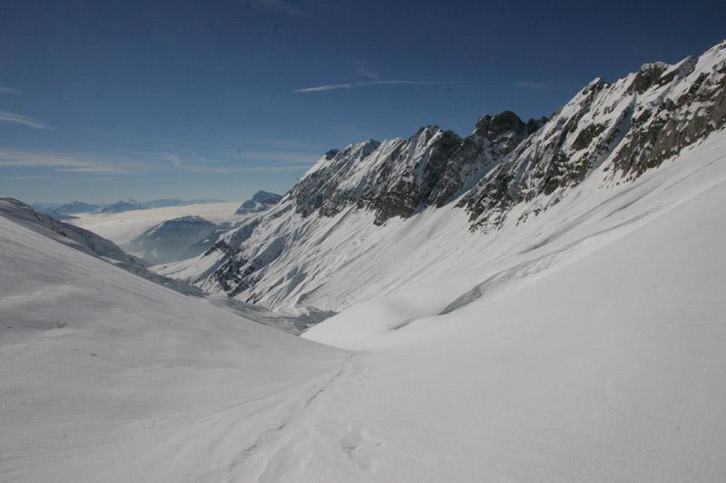 les sommets des combes et la combe de Tré le Crot depuis le Passage de la Grande Forclaz