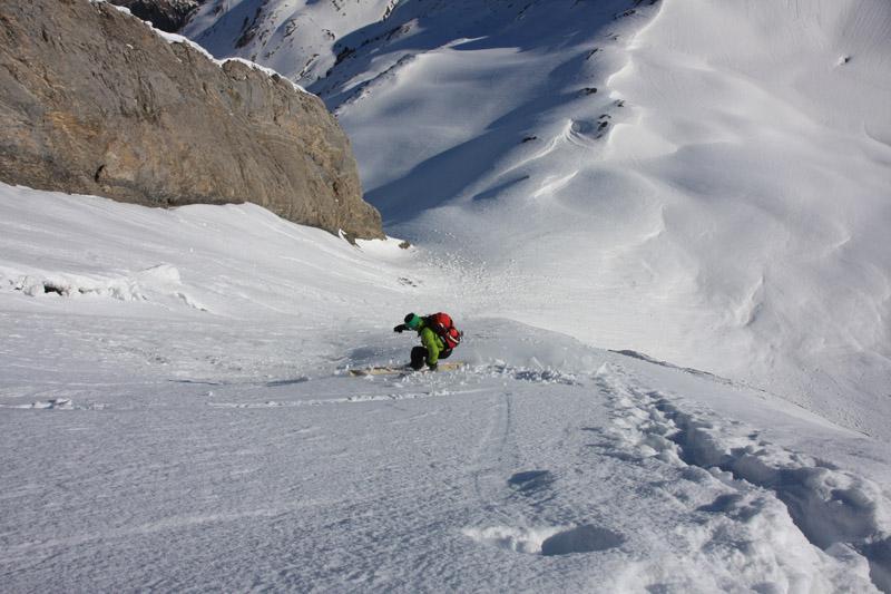 Julien dans le bas la descente de la face Nord-Est