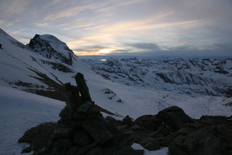 le Ciarforon et le glacier de Moncorvé depuis le col du Grand Paradis