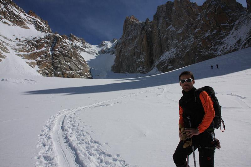 Olivier et la montée finale du glacier du Milieu